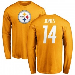 Men's Tevin Jones Pittsburgh Steelers Name & Number Logo Long Sleeve T-Shirt - Gold