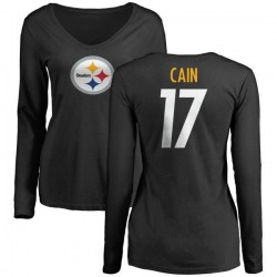 Women's Deon Cain Pittsburgh Steelers Name & Number Logo Slim Fit Long Sleeve T-Shirt - Black