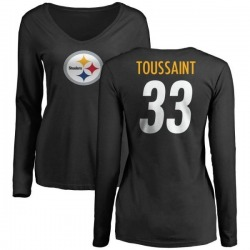Women's Fitzgerald Toussaint Pittsburgh Steelers Name & Number Logo Slim Fit Long Sleeve T-Shirt - Black