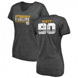 Women's T.J. Watt Pittsburgh Steelers Retro Tri-Blend V-Neck T-Shirt - Black