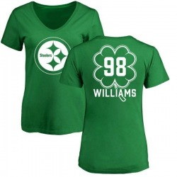 Women's Vince Williams Pittsburgh Steelers Green St. Patrick's Day Name & Number V-Neck T-Shirt