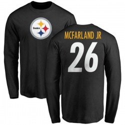 Youth Anthony McFarland Jr. Pittsburgh Steelers Name & Number Logo Long Sleeve T-Shirt - Black