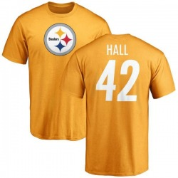 Youth Darrin Hall Pittsburgh Steelers Name & Number Logo T-Shirt - Gold