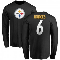 Youth Devlin Hodges Pittsburgh Steelers Name & Number Logo Long Sleeve T-Shirt - Black